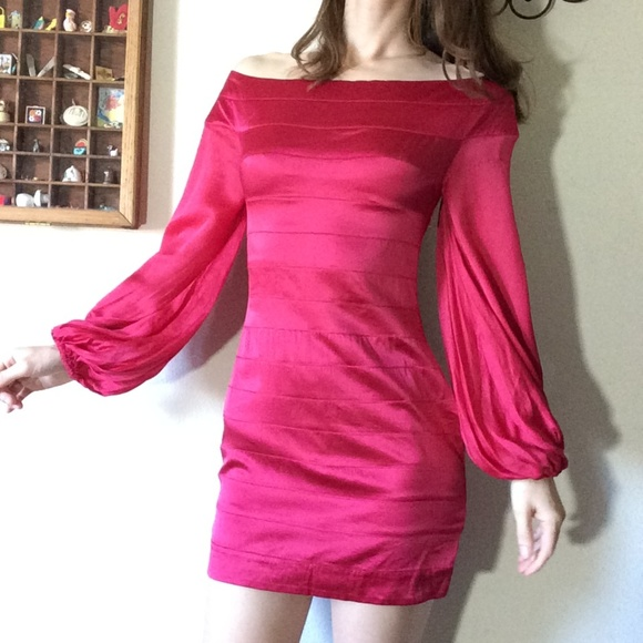 bebe Dresses & Skirts - BEBE HOT Fuscia Pink Billow Sleeve Pirate Dress